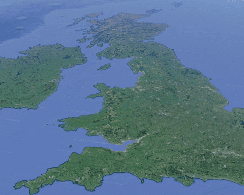 UK map aerial view