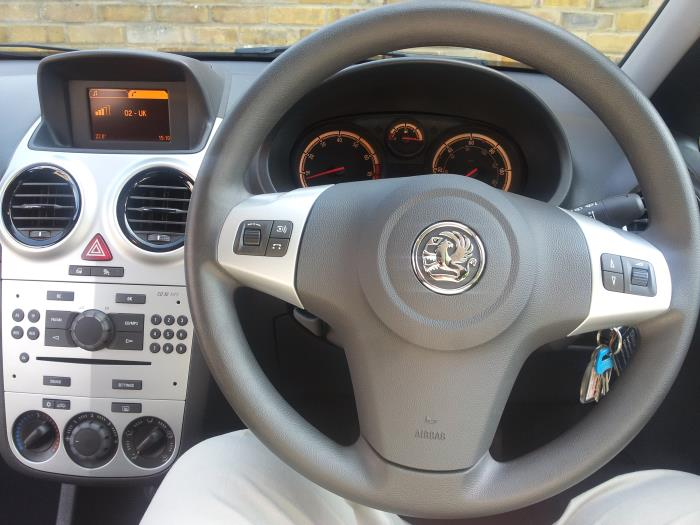 The steering wheel of a Vauxhall Corsa