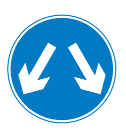 vehicles pass on either side road sign