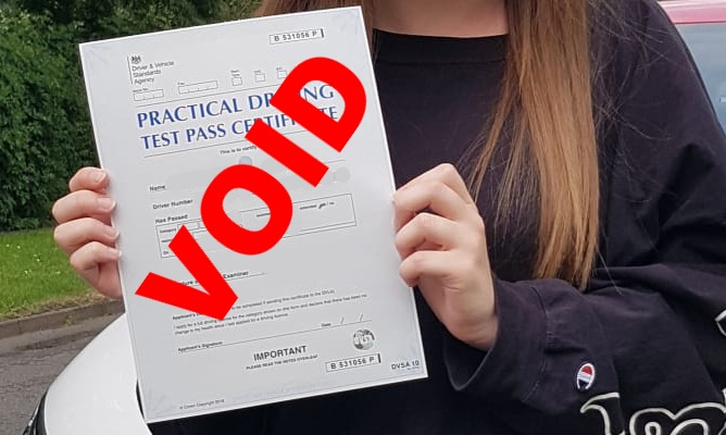 Void driving test pass certificate