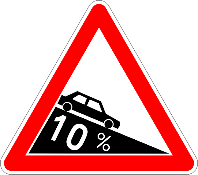 A warning road sign depicting a steep decline
