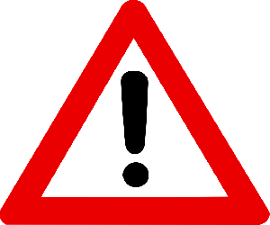 Red warning triangle sign