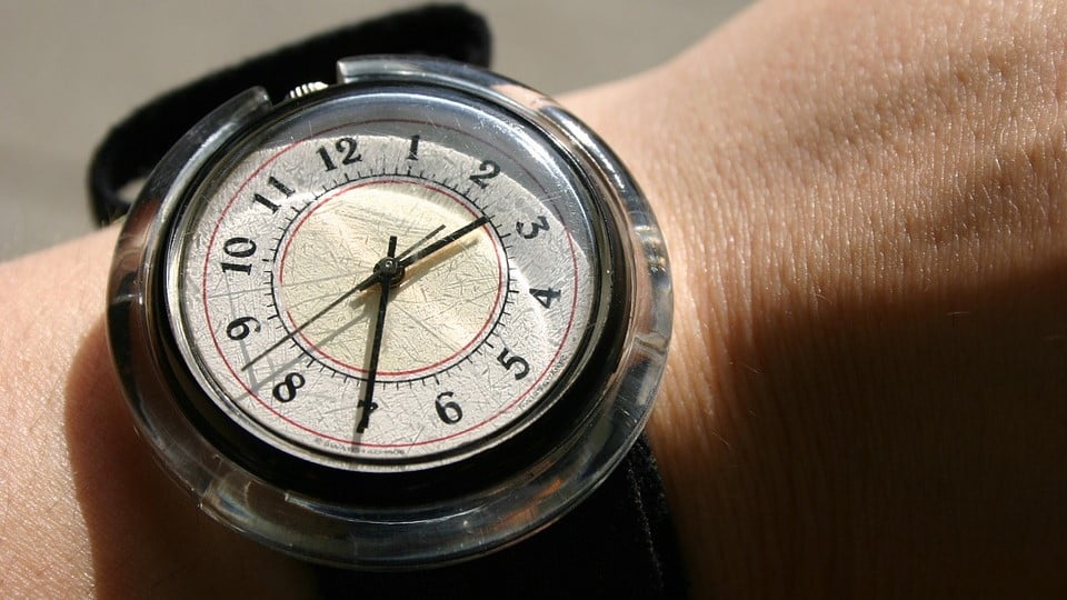 Compass-style watch on arm.