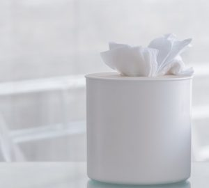 White circular box of tissues