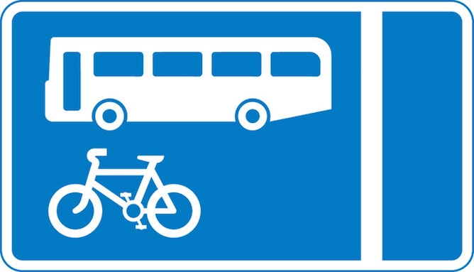With flow bus and cycle lane sign
