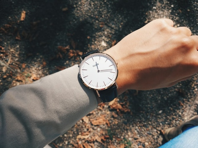 A woman checking her watch