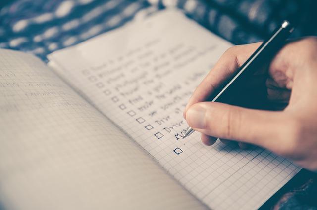 Handwriting a checklist
