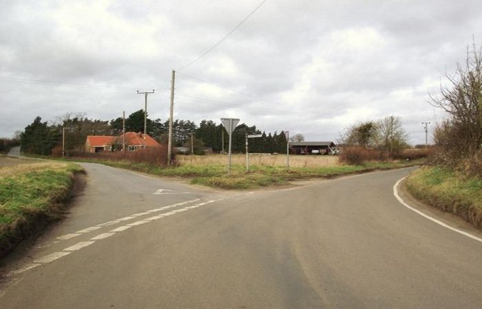 Empty Y-junction near Bardwell Suffolk