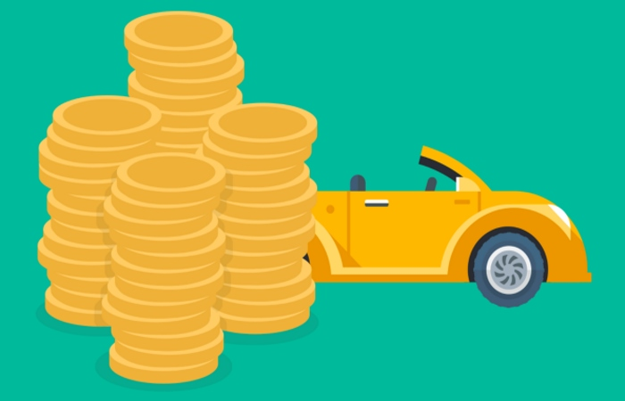 yellow cartoon car with pile of coins